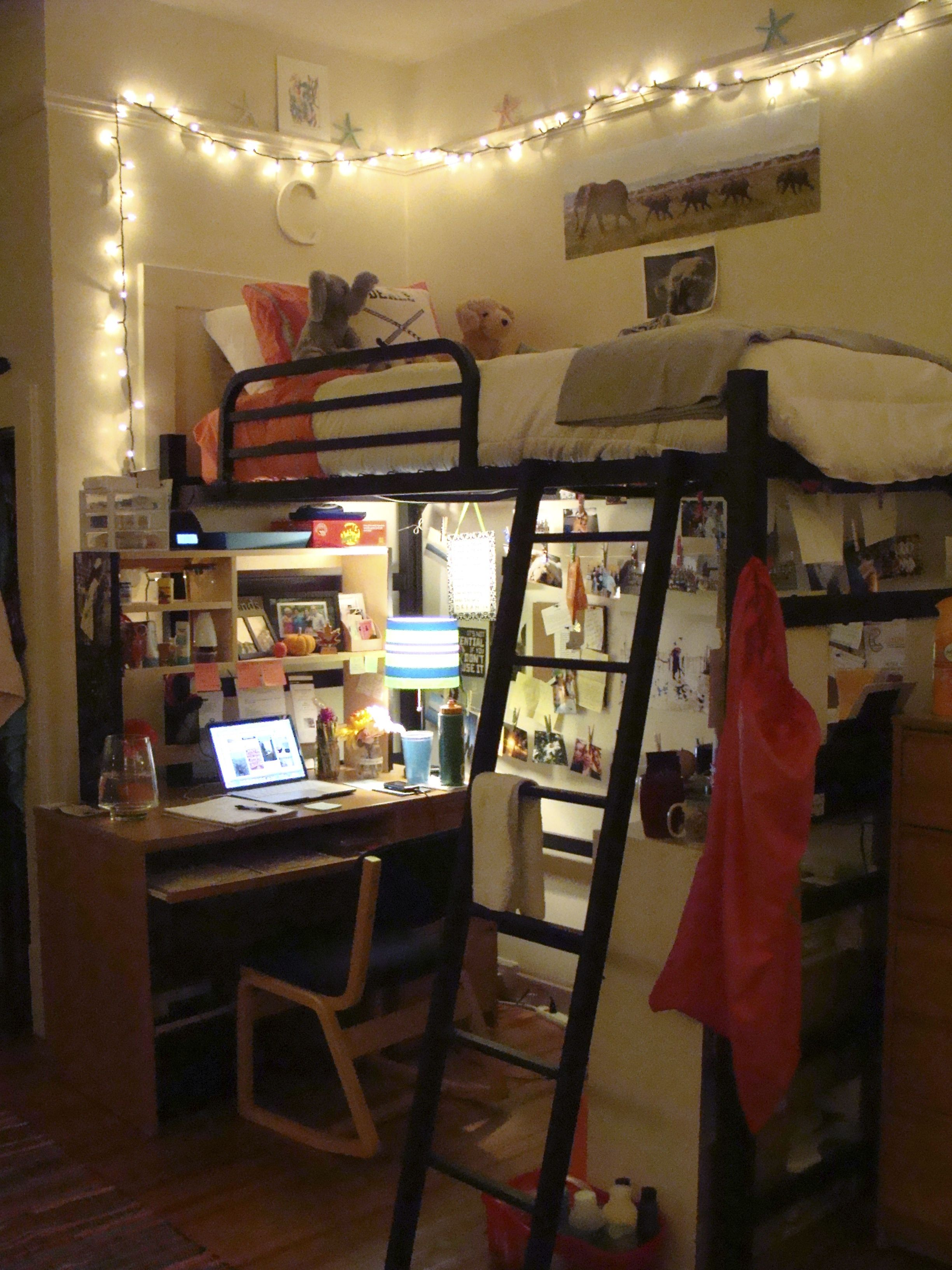 Love How This Desk Is Shifted To Be Adjacent To The Loft Bed Instead Of ·  College Dorm RoomsCollege ... Part 74