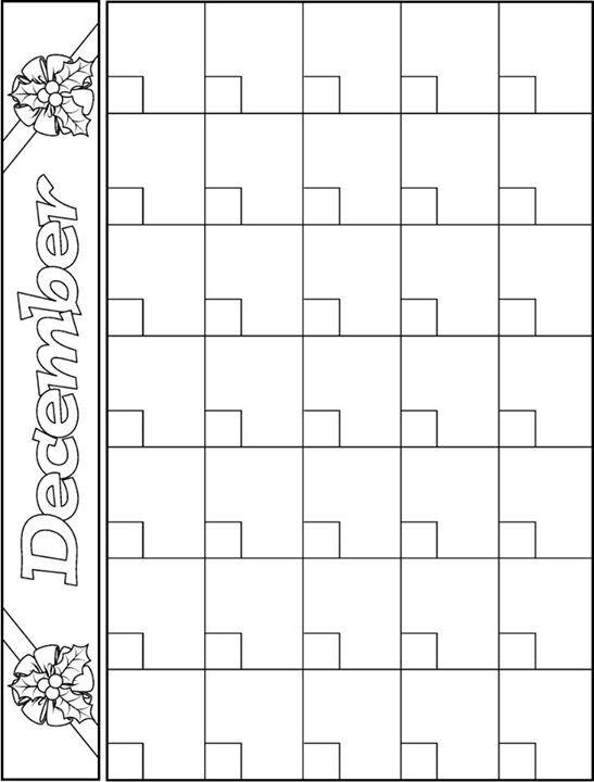 December Calendar Template  Teacher Ideas    December