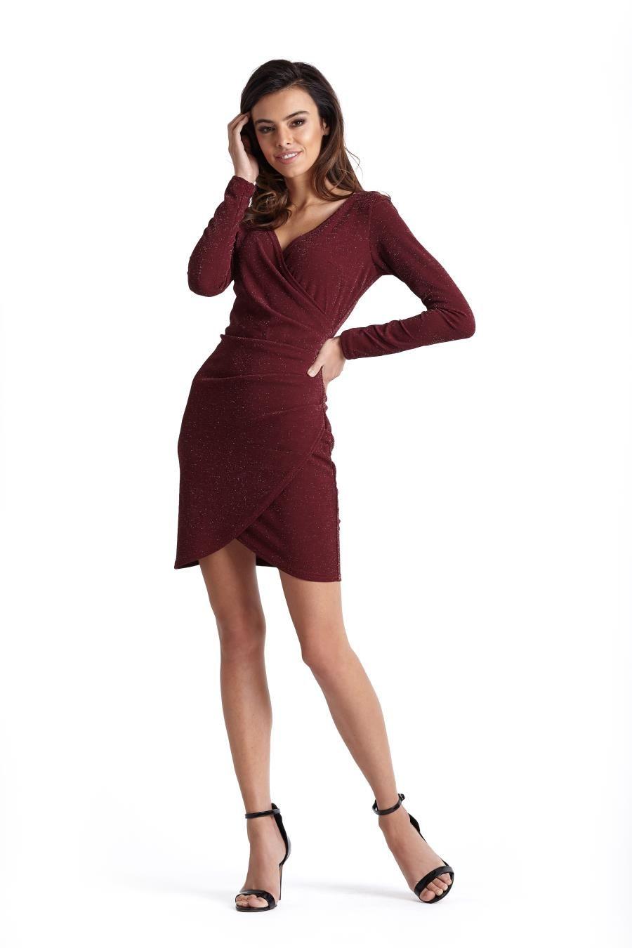 4b37025b8 Kopertowa Sukienka z Elastycznej Tkaniny Bordowa Błyszcząca 233 in ...