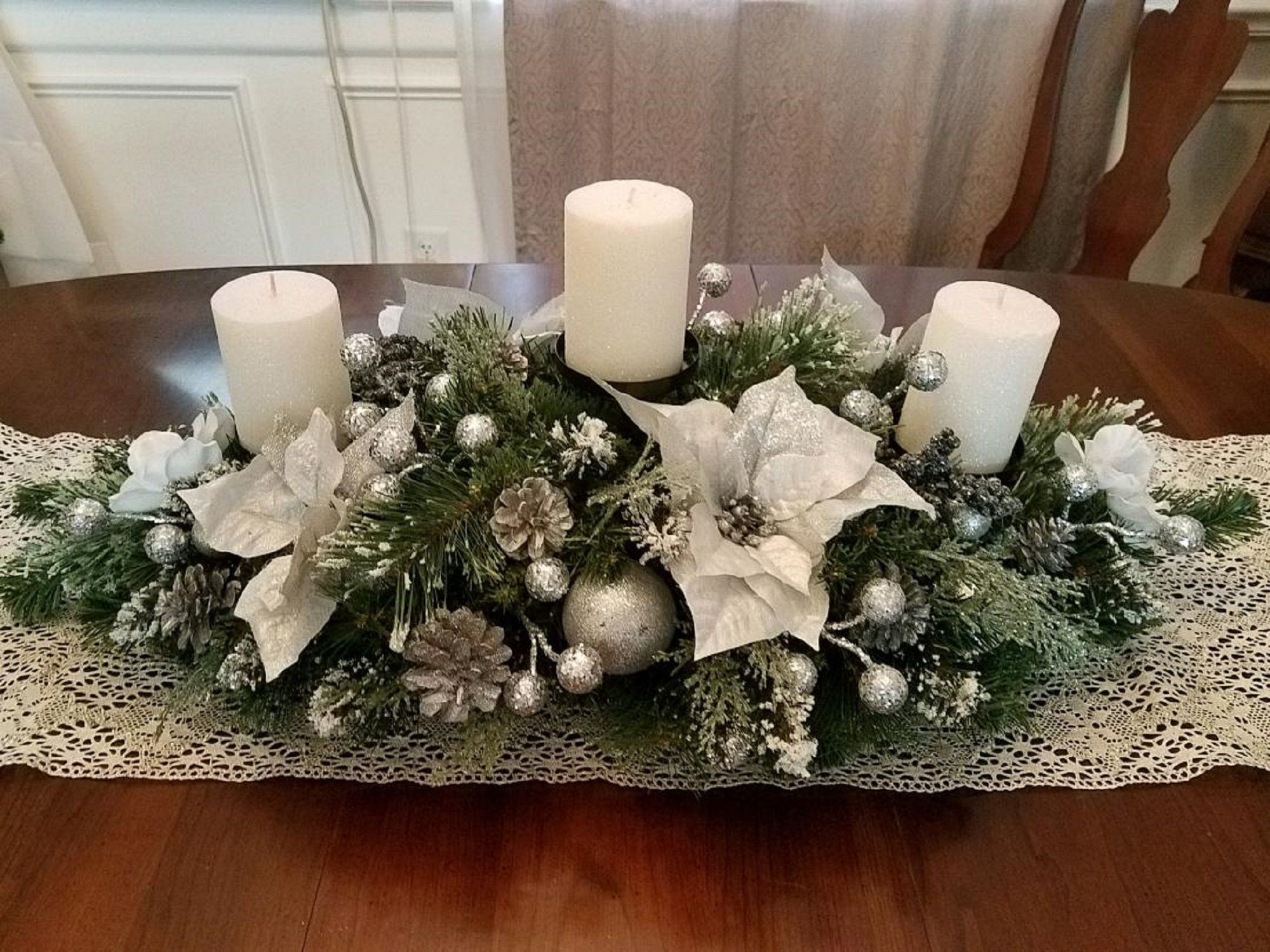 Christmas Centerpiece / XL Christmas Centerpiece/ Holiday Centerpiece / Mantle Decor / Table Decor / Silver Poinsettia Christmas Centerpiece