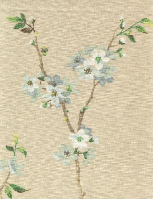 Blossom Tree Linen Fabric Print of blossom on the tree in aquas on beige linen union