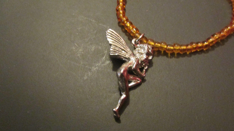 Vintage Fairy necklace beaded necklace Bronze Fairy necklace