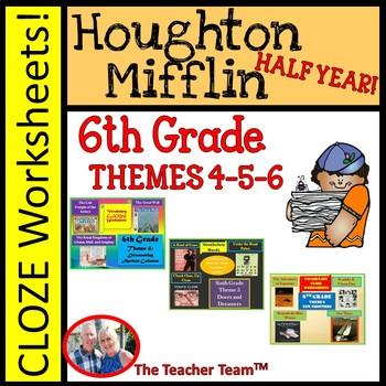 Houghton Mifflin Reading 6th Grade Worksheets Bundle Themes 4 6 Houghton Mifflin Reading 6th Grade Worksheets Reading Vocabulary