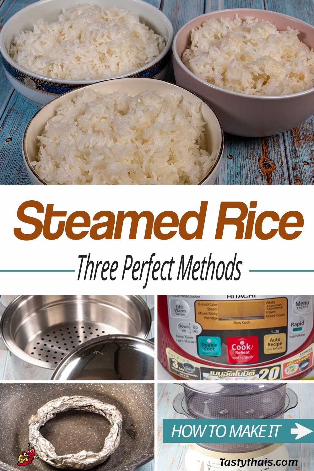 I never had much success cooking rice until I bought a rice cooker. But not everyone has a rice cooker so there are another two methods for you guys for perfect steamed rice every time.  Check out the video. #tastythais #thaifood #steamedrice #khaosuai #jasminerice #thairice #homemade