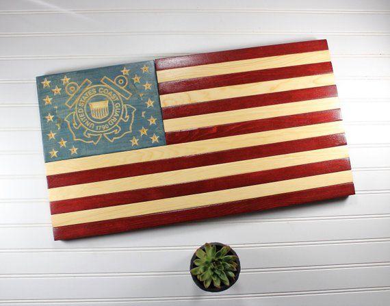 Coast Guard Flag Rustic Wooden American Flag Military Retirement Gift Rustic Wooden American Flag Coast Guard Flag Wooden American Flag