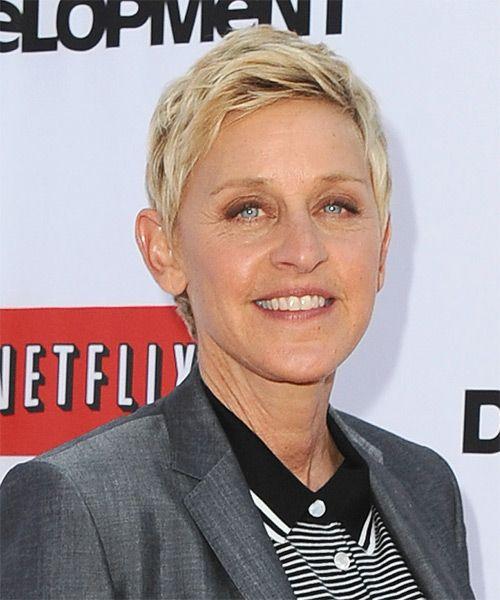 Ellen Degeneres Short Straight Light Blonde Hairstyle Ellen Degeneres Haircut Ellen Degeneres Hair Styles