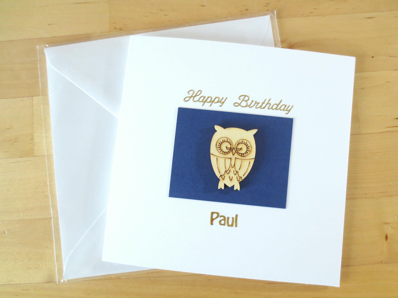 Owl birthday card greeting card handmade personalised birthday personalised birthday card for men birthday card for men him husband boyfriend kristyandbryce Gallery