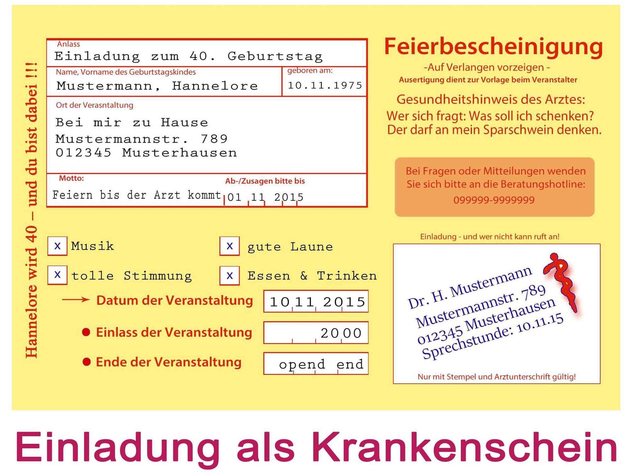 Einladungskarten Zum 50 Geburtstag Vorlagen #19: Einladungskarten 50 Geburtstag Als Krankenschein - _Eine Besondere Einladung  Für Eine Besondere Party!_ Die Vorderseite Dieser Einladungskarte Im Format  DIN ...