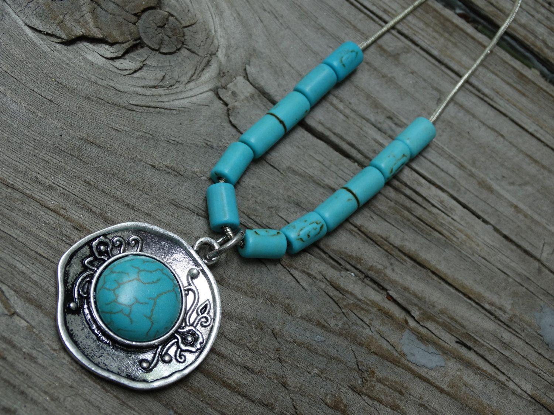 Turquoise Necklace, Boho Bracelet, Turquoise Beads, Silver Chain, Boho Jewelry, Turquoise Jewelry, Beaded Necklace, Turquoise…