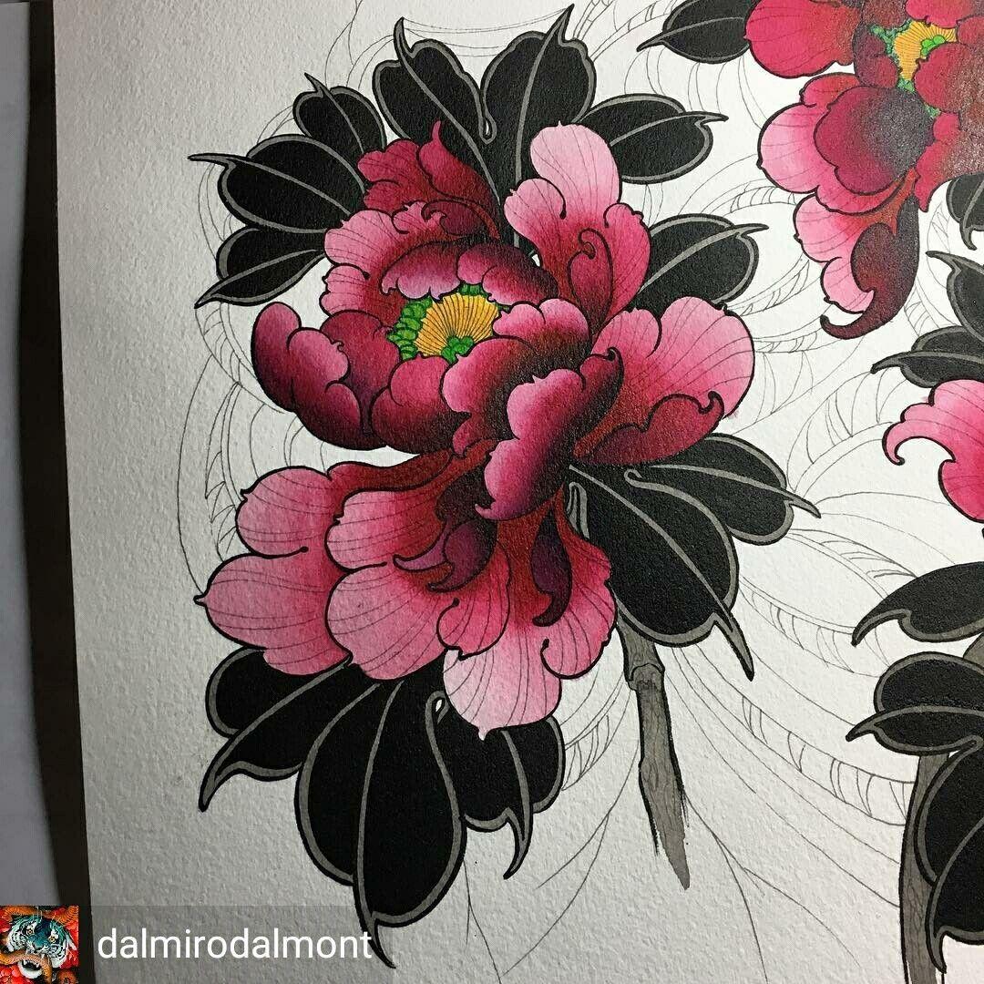 Japanese Style Peony Japanese Flower Tattoo Japanese Tattoo Flower Tattoo Designs