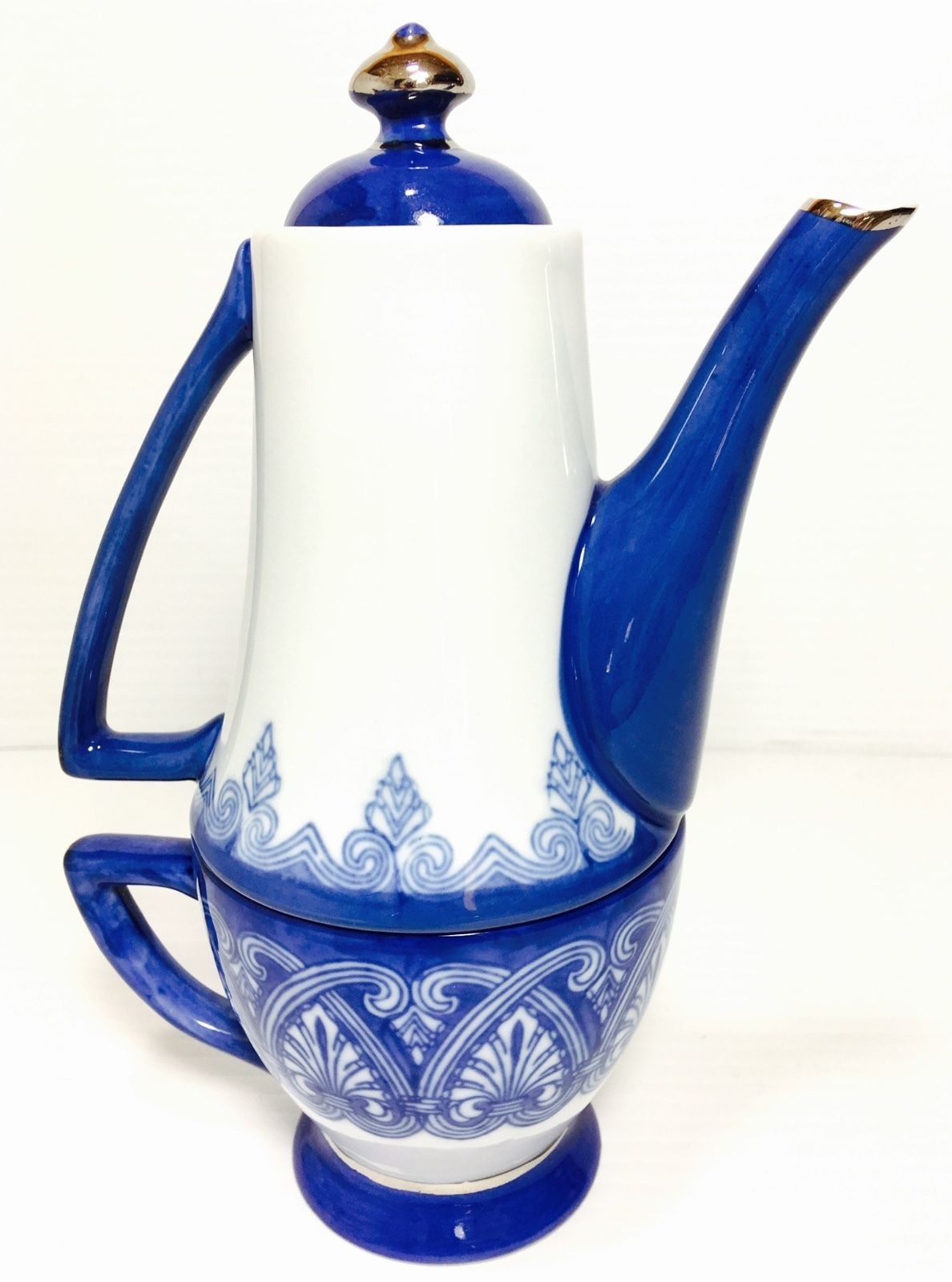 All in One Teapot Cup Combo Bombay 2pc Set Cobalt White