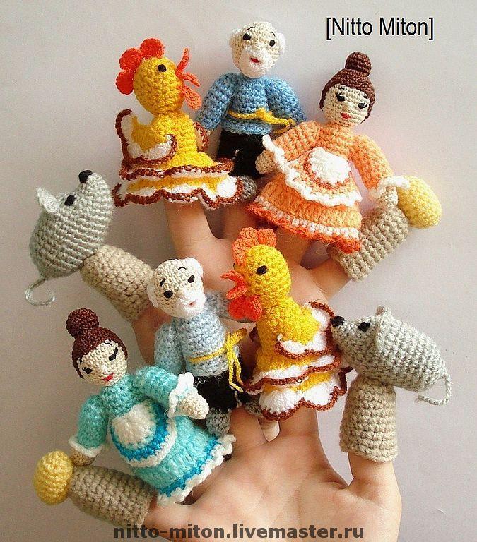 crochet amigurumi finger puppets - not english, ready made, not ...