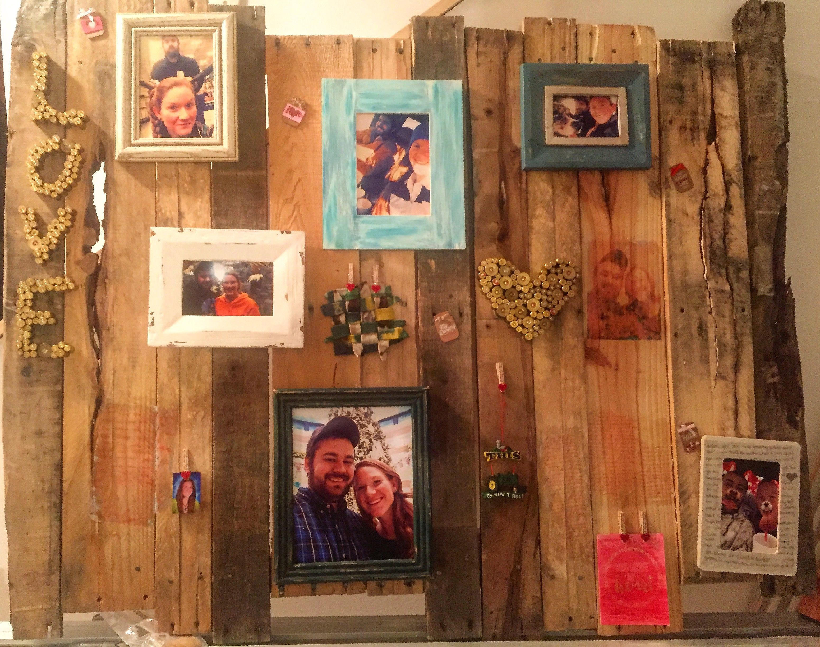 Pallet collage pictures notes photo wood transfer shell casings