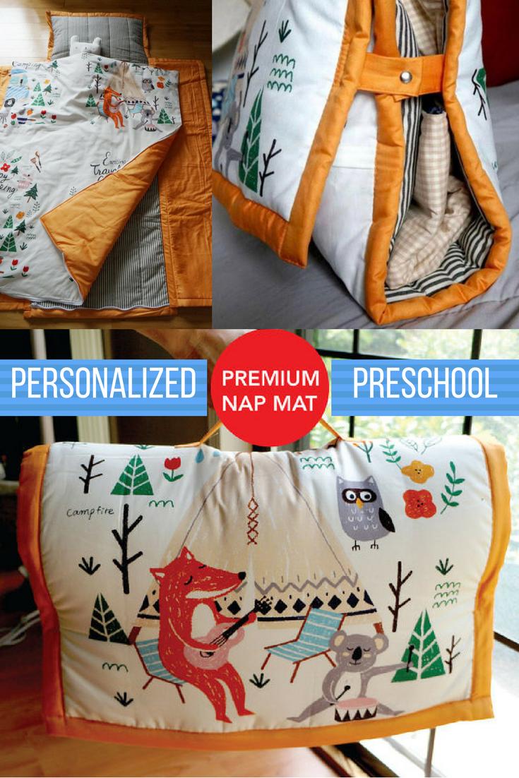 Personalized Preschool Nap Mat Made With 100 Organic Cotton Fabric With A Cute Woodland Creature Campin Discipline Kids Preschool Nap Mats Toddler Preschool