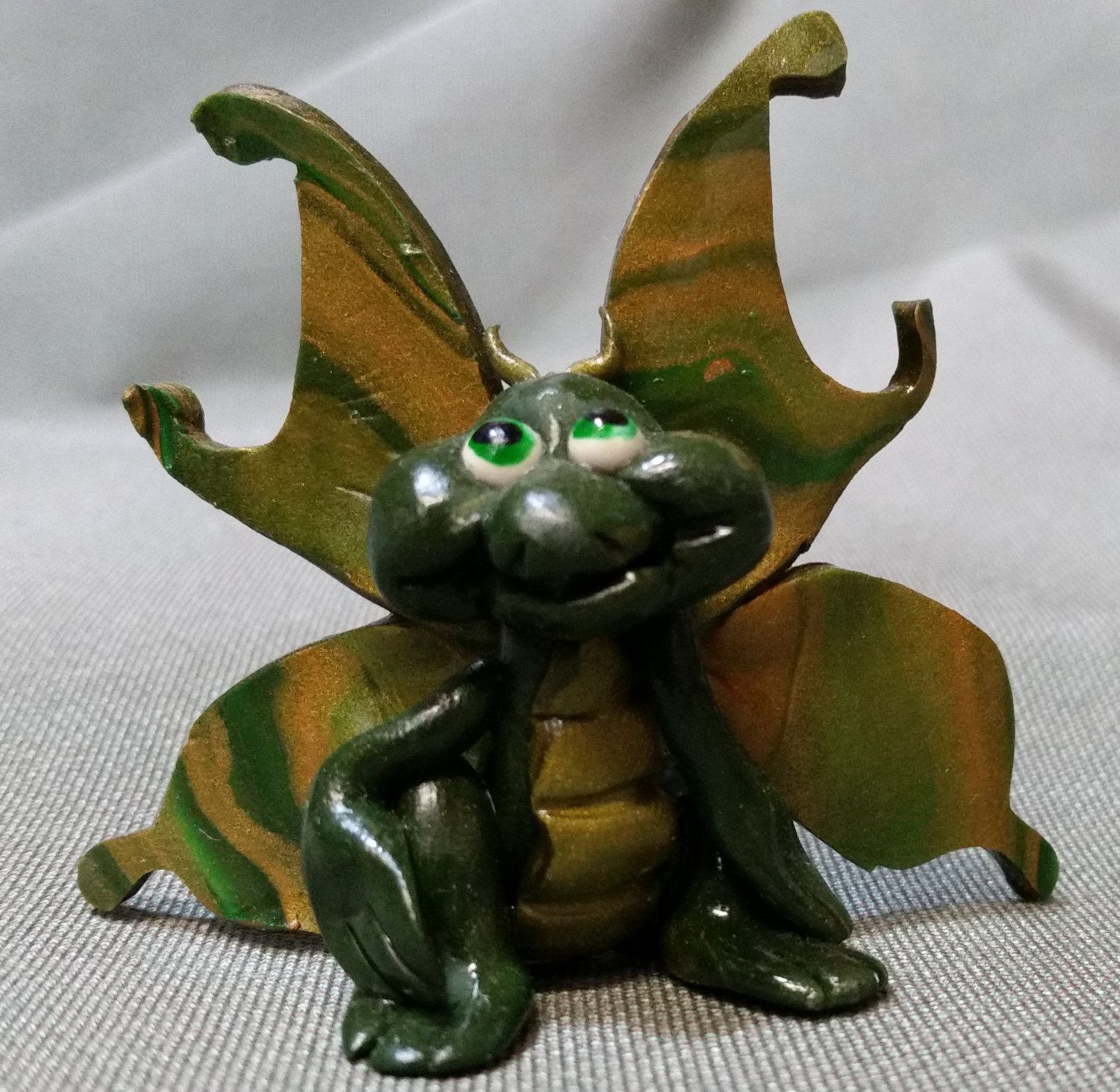Butterfly Dragon Green and Gold polymer clay CW by JackTheDragon on Etsy