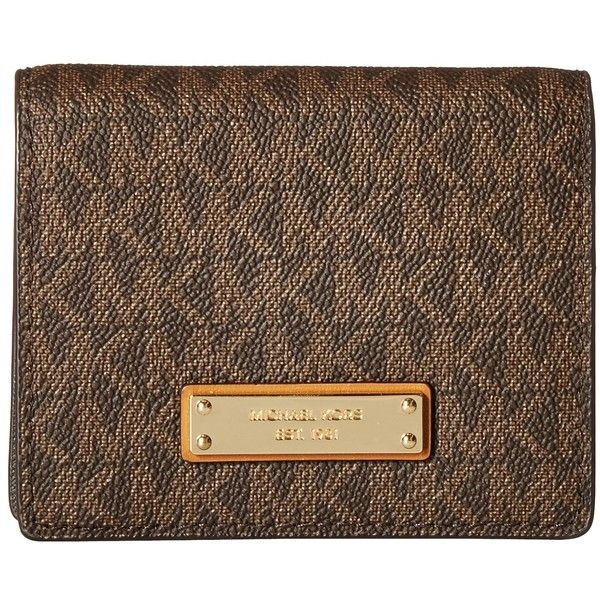 650634c6fe59 MICHAEL Michael Kors Money Pieces Flap Card Holder (Brown) Wallet ( 68) ❤