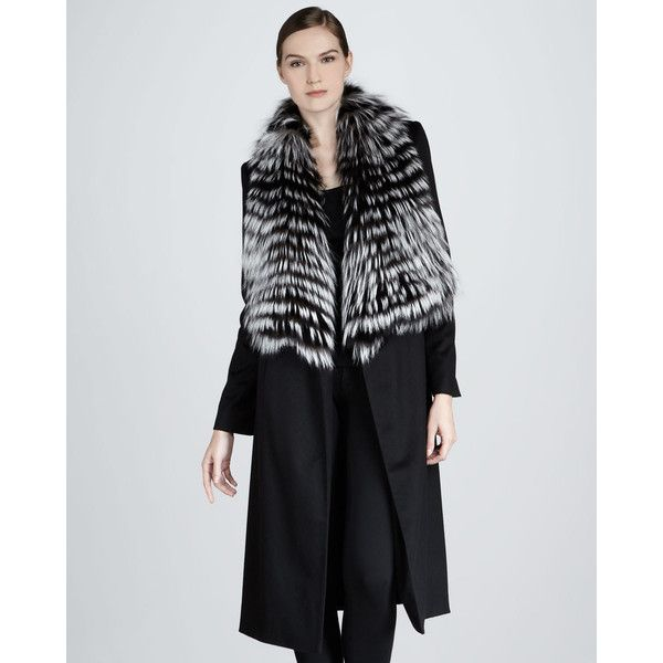 Sofia Cashmere Feathered Fur Coat ($1,185) ❤ liked on Polyvore featuring outerwear, coats, black, sofia cashmere, long sleeve coat, black coat, fox fur coat and fox coat