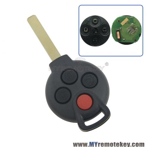 Remote Car Key 315mhz 4 Button For Mercedes Benz Smart Fortwo
