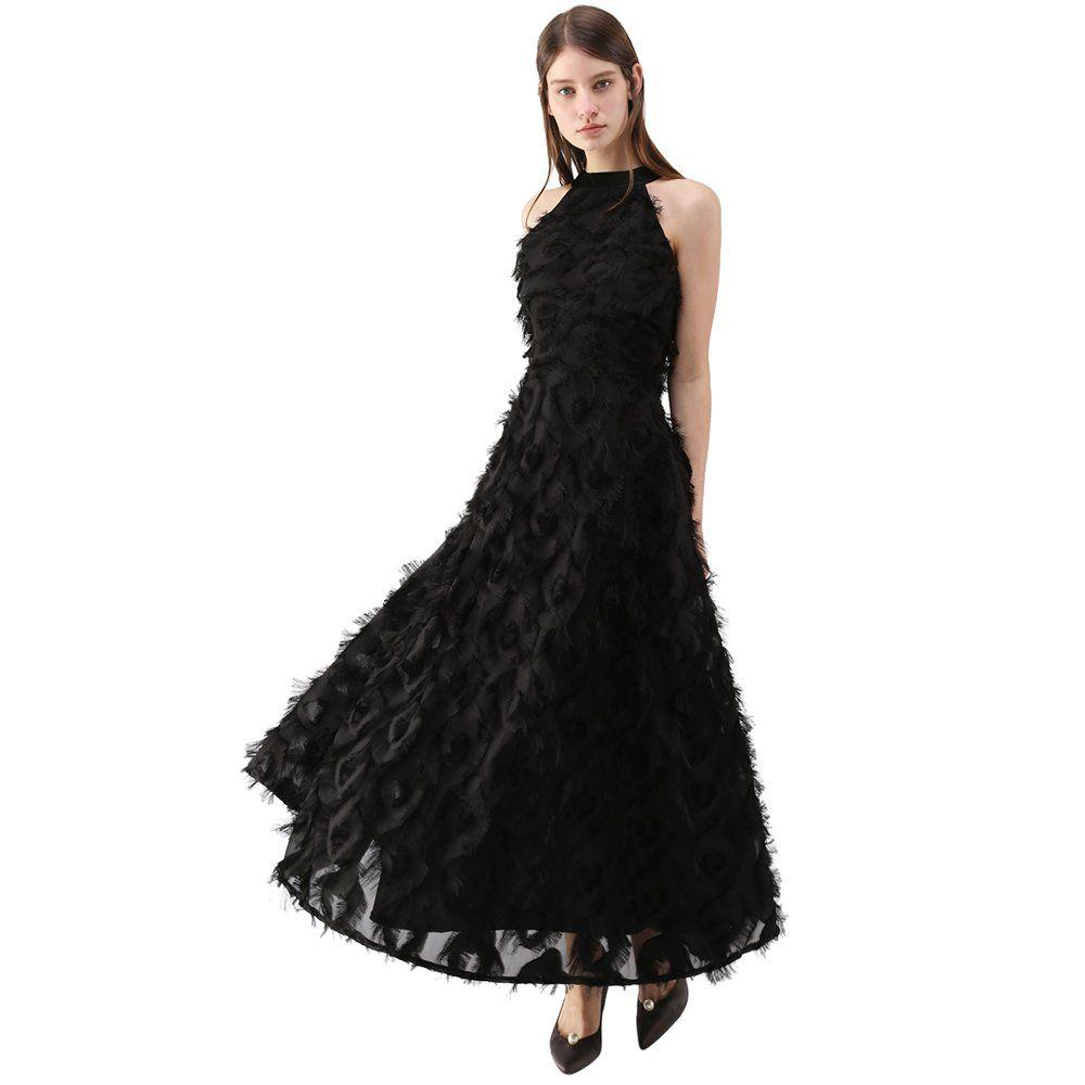 Chicwish Womens Dancing Feathers Tassel Black Halter Neckline