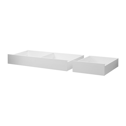 Hemnes Bed Storage Box Set Of 2 White Stain Double