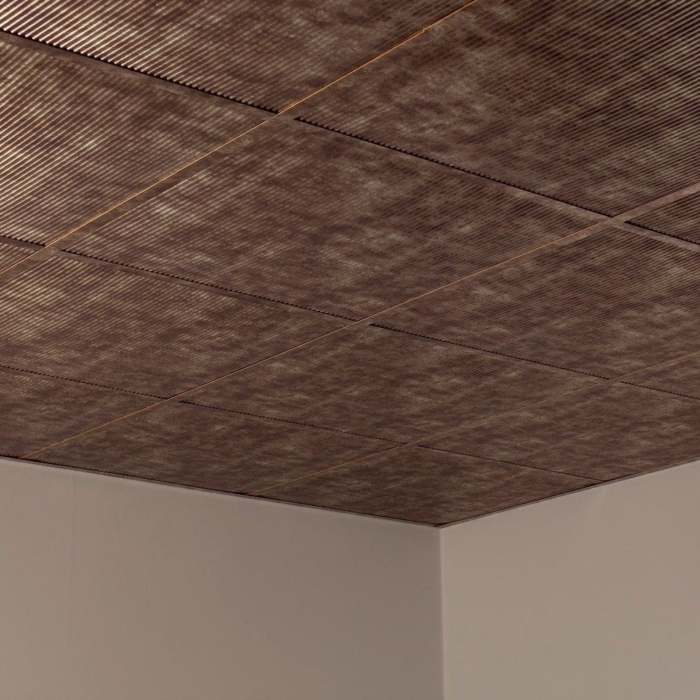 Fasade Rib Bermuda Bronze 2-foot Square Lay-in Ceiling Tile (Rib Bermuda Bronze 2 ft. x 2 ft. LI Tile), Gold