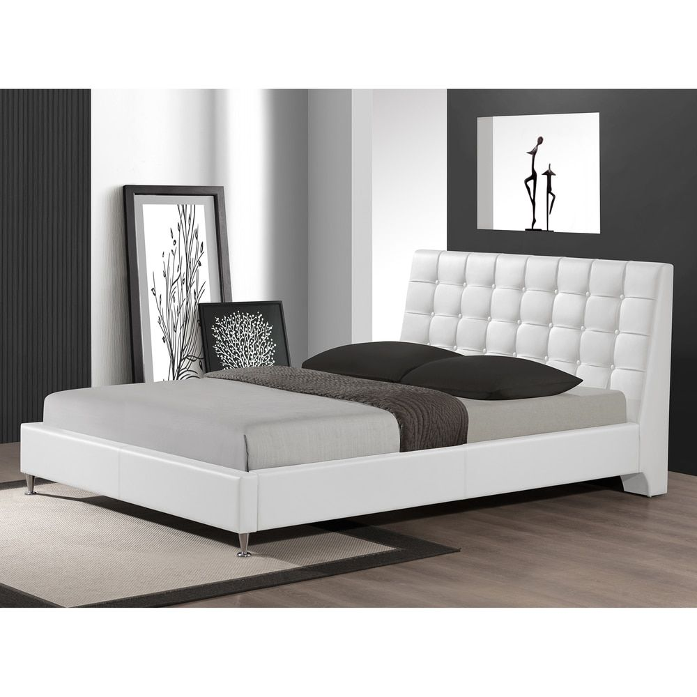 Baxton Studio Zeller White Modern Bed With Upholstered Headboard