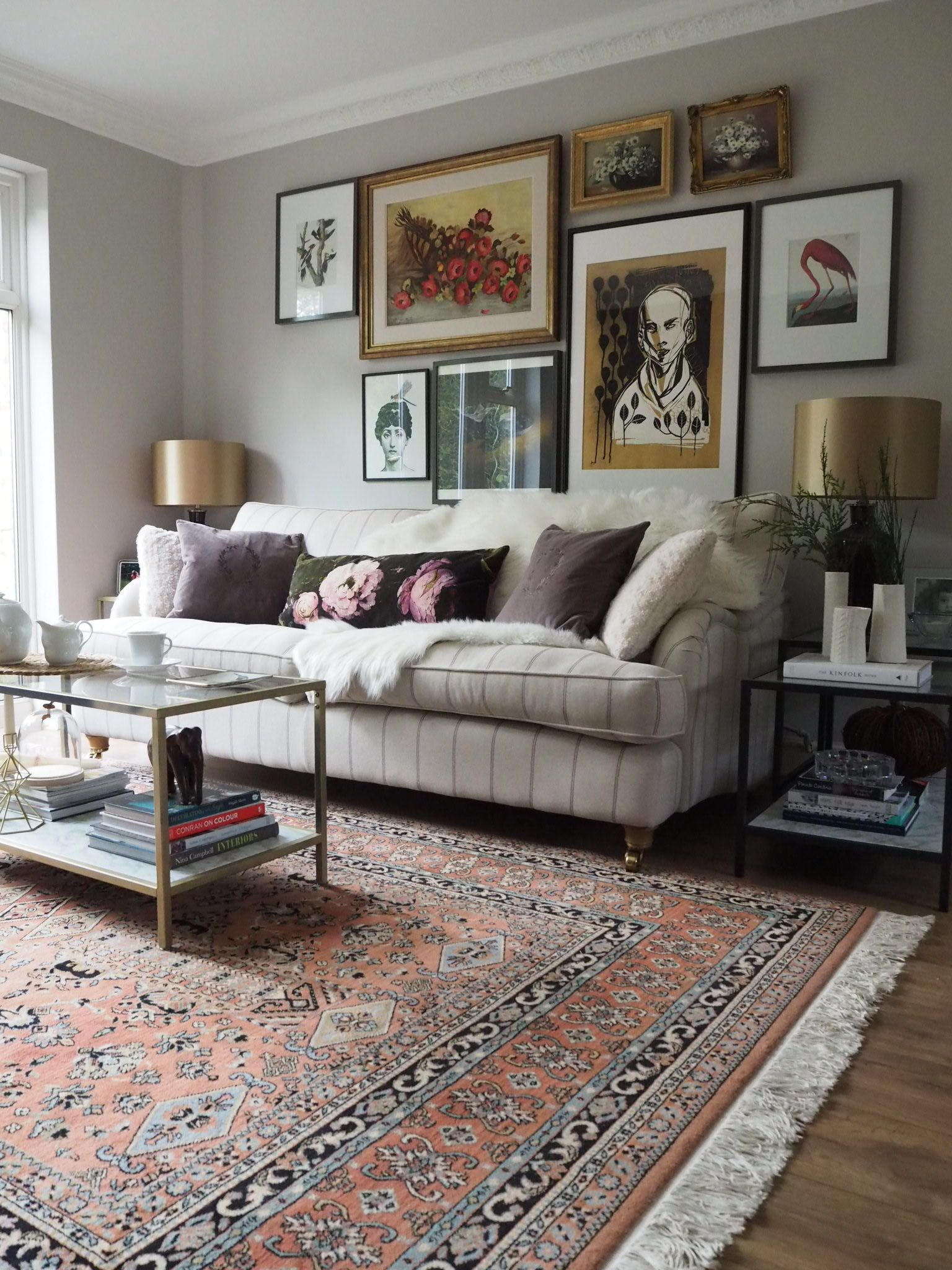 Gallery Wall ideas with art in the living room behind the ...