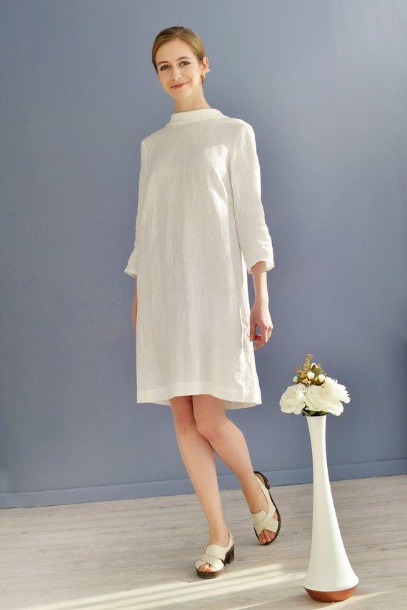 c48c85e402 Linen Dress With Open Back Linen Elegant Dress  Linen Dress Midi  Dress  With Bow At Back  Eco Friend