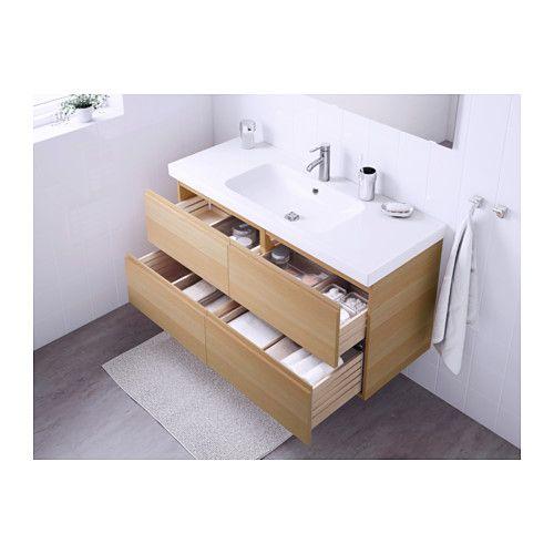 GODMORGON / ODENSVIK Meuble pour lavabo, 4 tiroirs - effet chêne