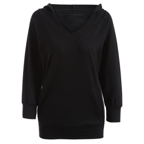 17.26$  Buy now - http://di43b.justgood.pw/go.php?t=205094103 - V Neck Long Pullover Hoodie