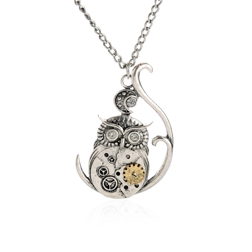 Women steampunk choker jewelry machinery gear owl pendant chain