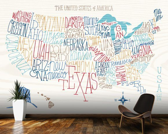 Us Map Mural.Hand Lettered Us Map Phase Two Digiland Pinterest Map