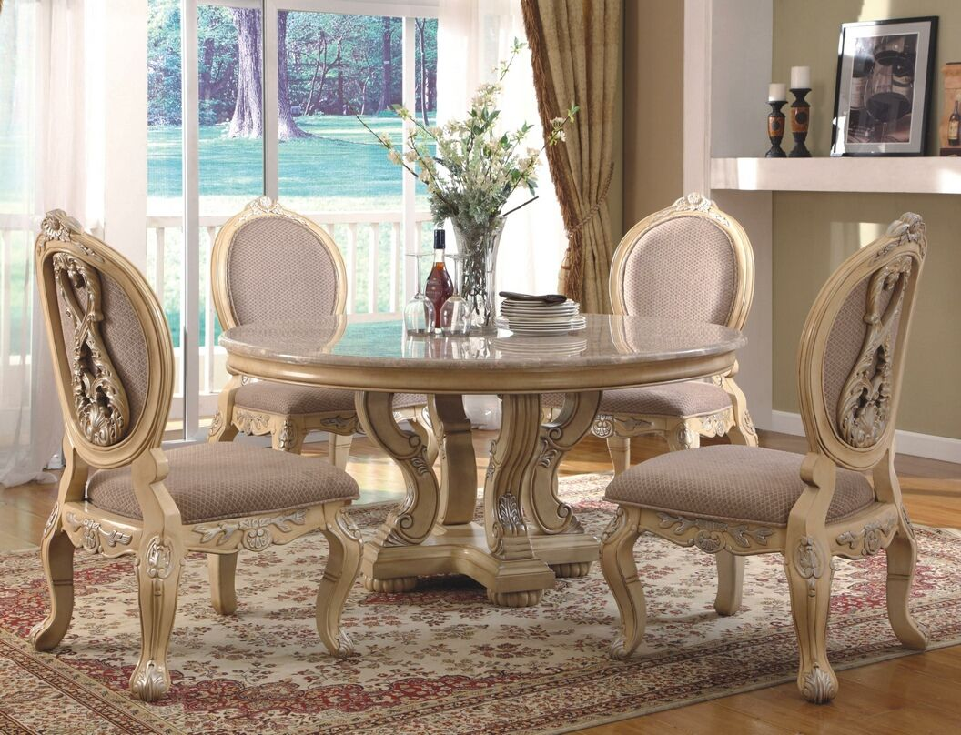 5 Pc Alexander II Collection Antique White Finish Wood Round Dining Table  Set With Marble Top