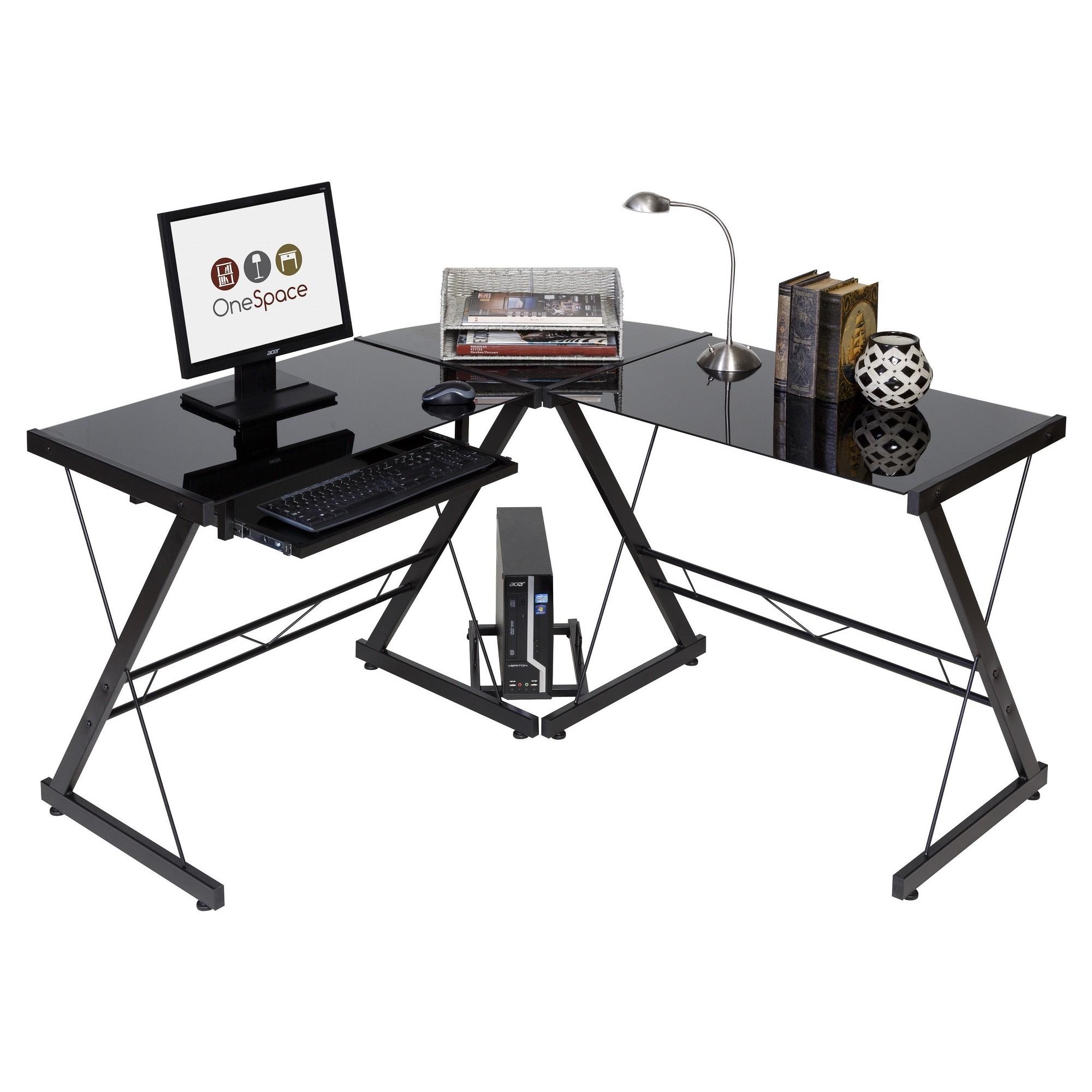 Glass L Shaped Computer Desk With Keyboard Tray Black Black Onespace In 2020 L Shaped Desk Desk Custom Computer Desk
