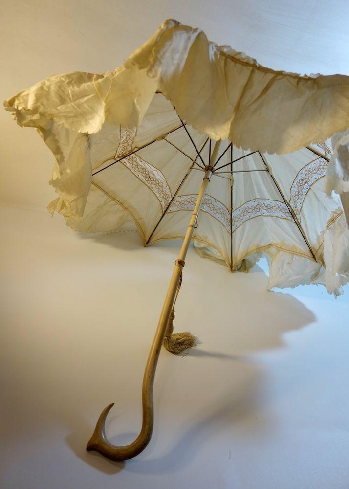 Antique Victorian Umbrella Lace and Silk Carriage Parasol ...