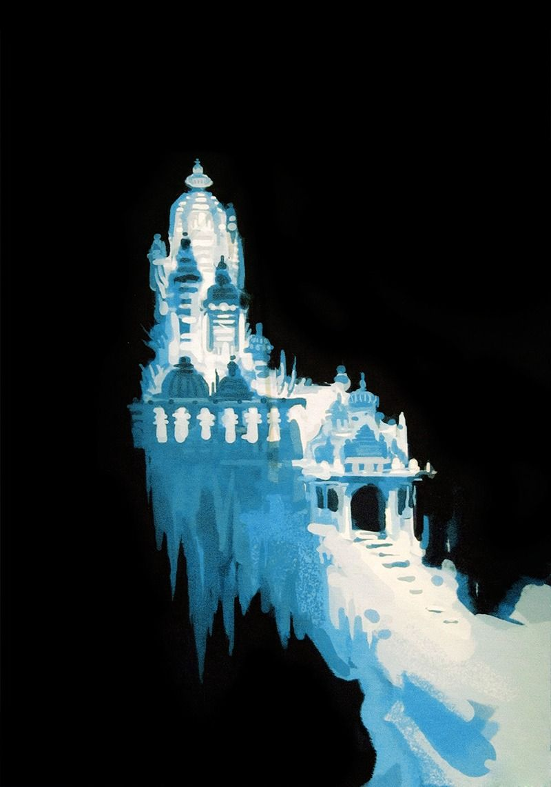 Frozen palace background  Concept art of the ice palace from Disneyus