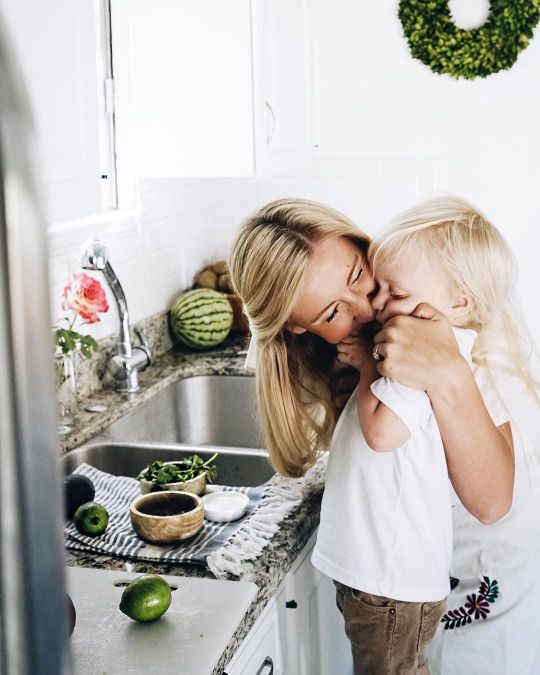 Classy Southern Blonde cooking with her son