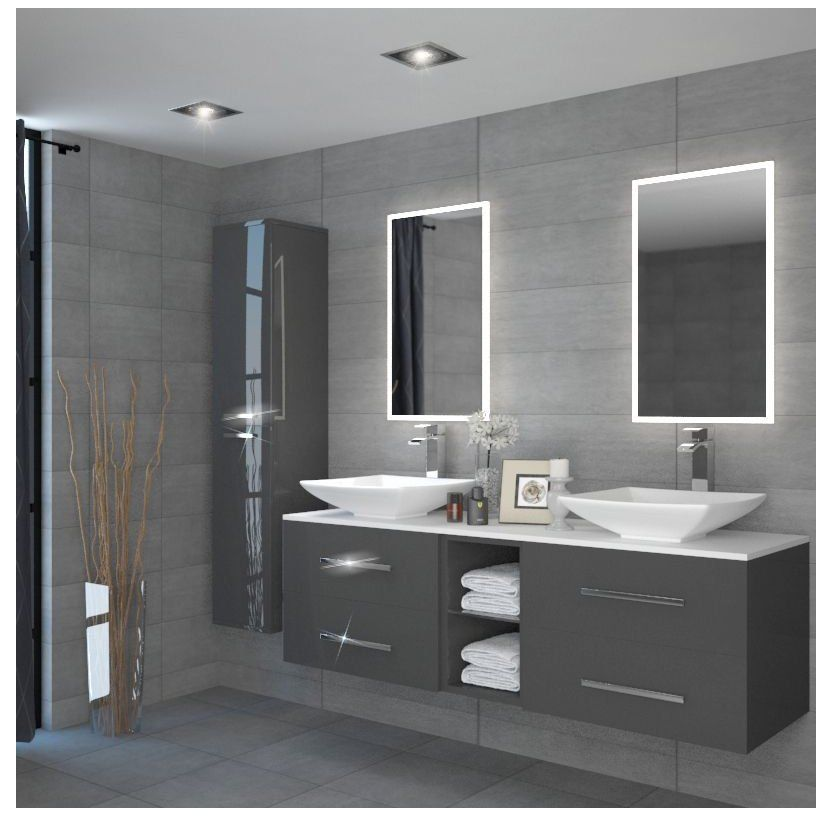 Sonix 1500 Glass Top Double Wall Hung Vanity Storage Unit Inc Basins And Taps Buy Online At Ba In 2020 Modern Bathroom Design Wall Hung Vanity Bathroom Interior Design