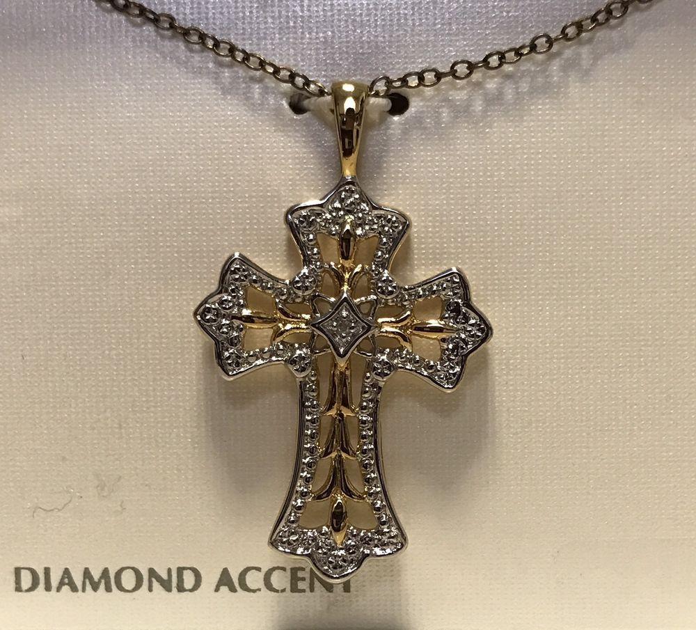 430c5b5059a0 Joyería Fina Diamante Oro 18k de plata esterlina 925 Collar Cruz Religiosa  18