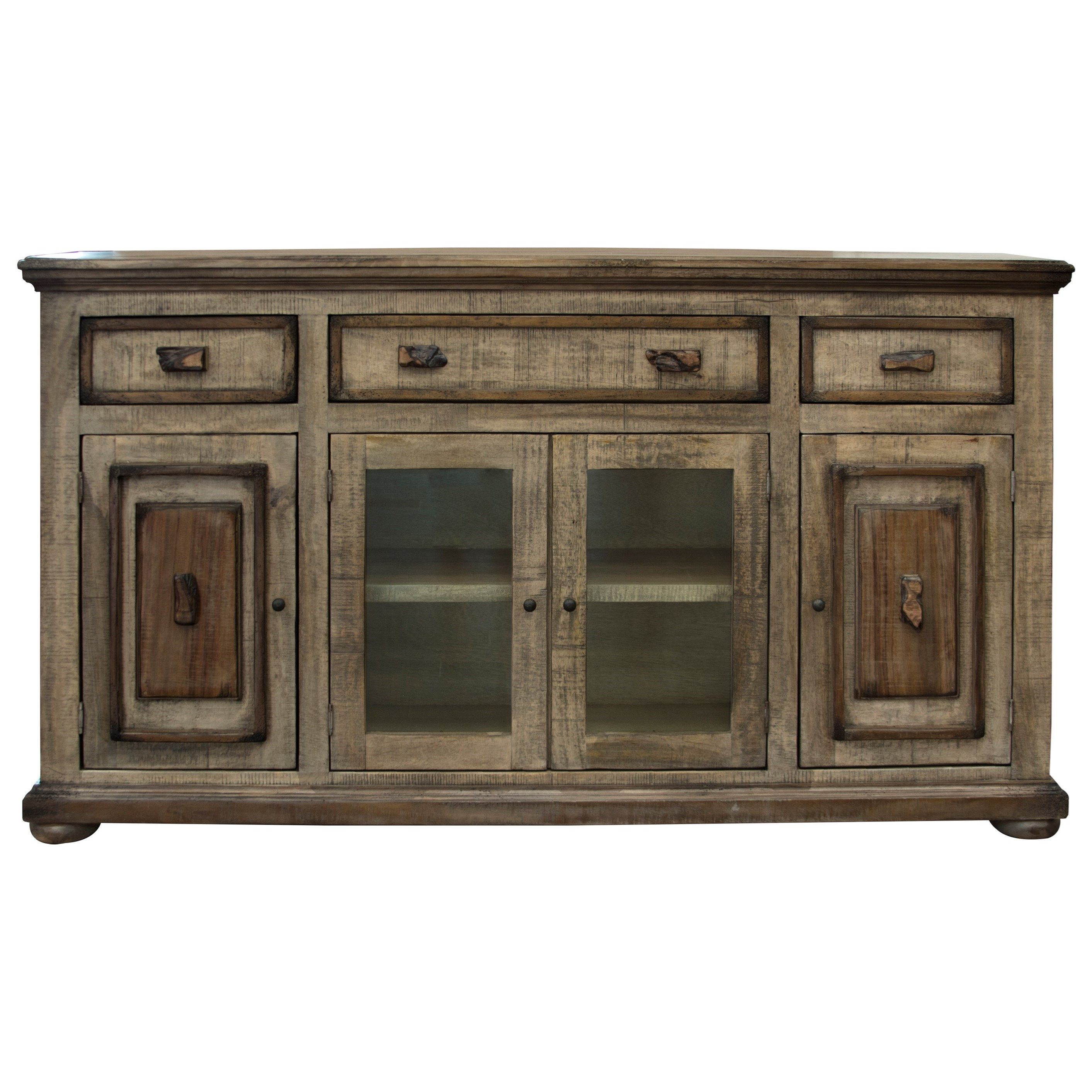Mesquite 2 Glass And 2 Wooden Doors Console By