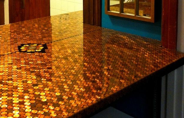 Penny Countertop With Ultraclear Epoxy Epoxy Countertop Resin