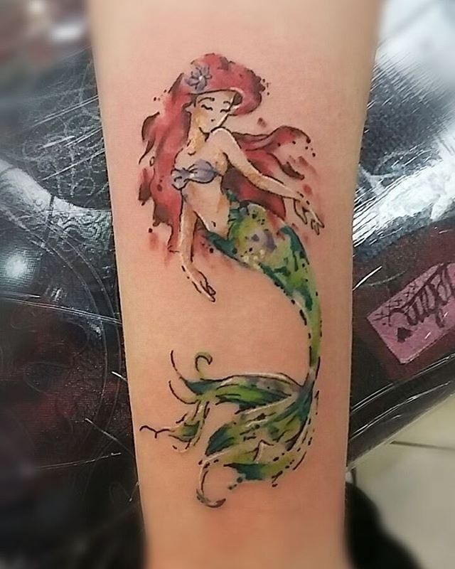 Watercolor Ariel Tattoo Tattoos Tattoonouveau Tattoopeasinapod Ariel Disney Littlemermaid Arieltattoo Disneytattoo Ariel Tattoo Cool Tattoos Tattoos