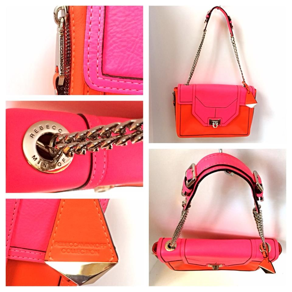 Watch Out Hot Florescent Bright Pink And Orange Rebecca Minkoff Purse That