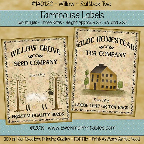INSTANT DOWNLOAD Printable Farmhouse Labels By Ewenmeprintables   Printable  Loose Leaf Paper  Printable Loose Leaf