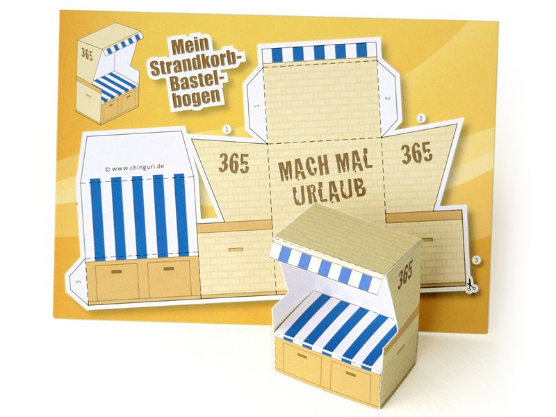 Strandkorb clipart  Strandkorb-Bastelbogen-Postkarte von chinguri auf DaWanda.com ...