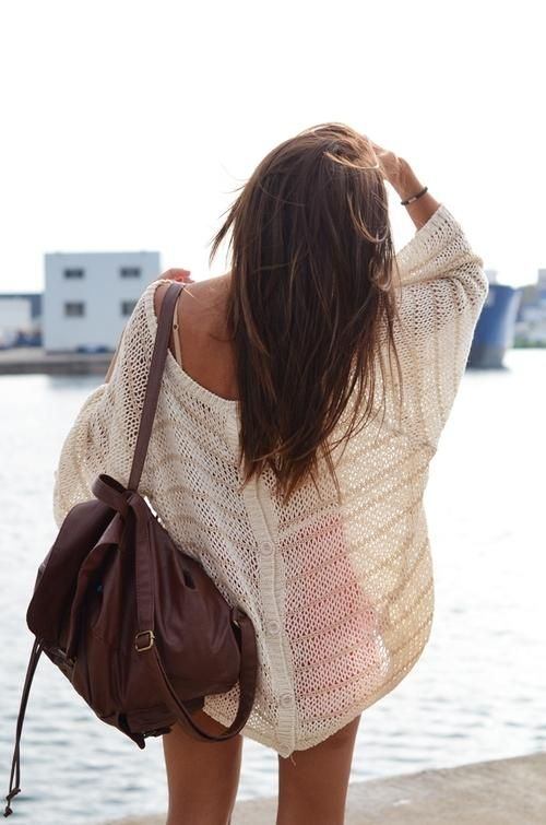 Oversized sweater swimsuit cover up + leather bag