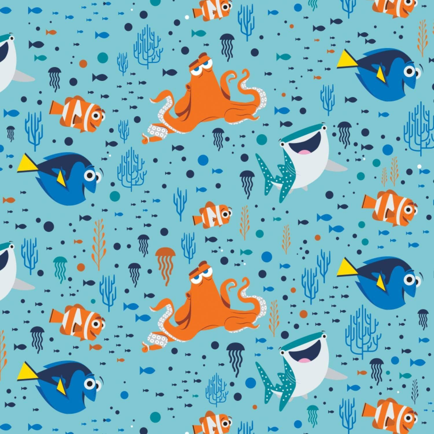 Disney Finding Dory Characters Turquoise 85170101 100/% cotton fabric by the yard
