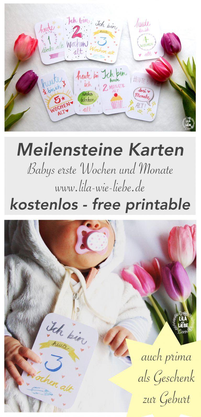 Baby Meilensteine Karten Gratis Druckvorlage Free Printable