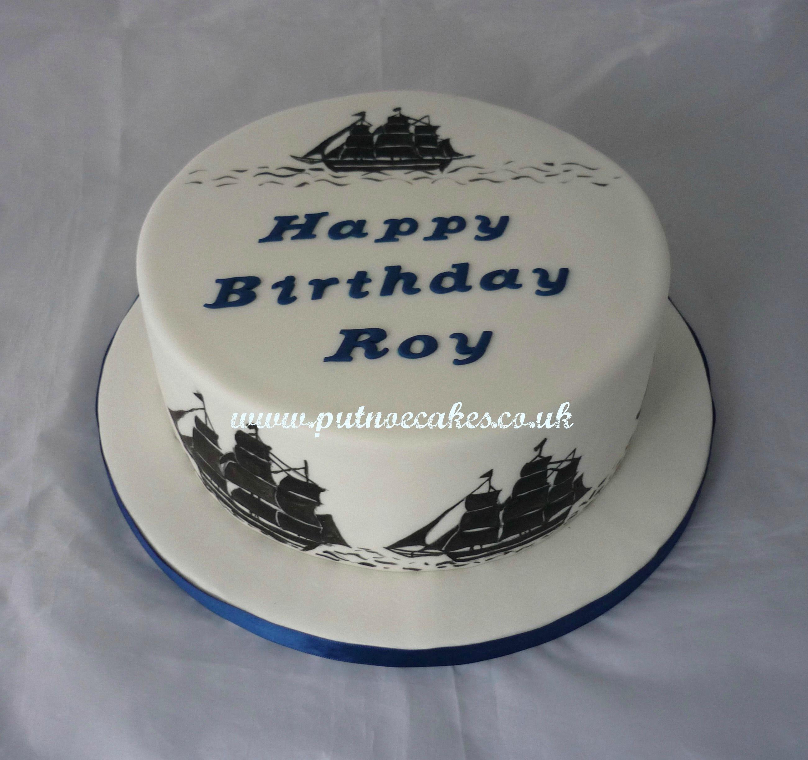 Hand painted Tall Ships birthday cake Kid Stuff Pinterest