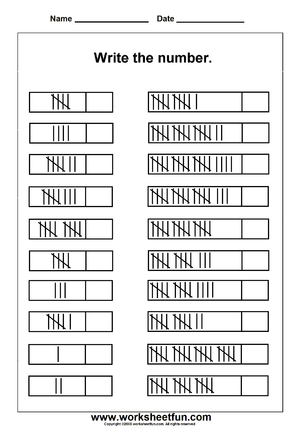 Printables Of Tally Mark Worksheets For 1st Grade